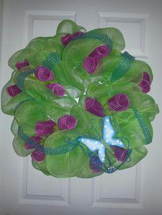 My first deco mesh wreath