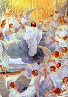 All of heaven will return with Christ at His Second Coming.  Graves will open and his saints will return to heaven with him!  I want to be one of them.