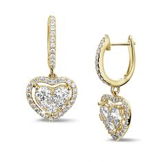 5535004e8d1b 1.35 carat heart-shaped earrings in yellow gold with round diamonds
