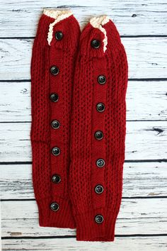 Leg Warmer Boot Cuff Socks Red with Lace by SweetDesignsApparel