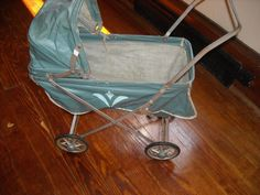 """Large vintage old metal and fabric baby doll toy buggy folds flat 22"""" lovedin my store The Chic N Prim cottage ebay have to put in"""