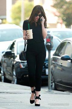 Dakota Johnson (Anastasia Steele) I love the 'all black' look with the ballet flats.