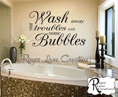 Bathroom Wall Decor- Wash Away Your Troubles with Some Bubbles Bathroom Wall Decal- Bathroom Art- Bathroom Decor-Bathroom Wall Decor Badezimmer Wanddekoration Waschen Sie Ihre Probleme mit ein paar Blasen – Bathroom Wall Storage, Bathroom Wall Decals, Bathroom Art, Master Bathrooms, Teen Bathroom Decor, Bathroom Wall Quotes, Bathroom Staging, Bath Quotes, Bling Bathroom