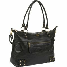 Amazon.com: Hudson Black Leather Tote Diaper Bag by Nest: Baby
