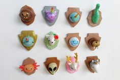 Loch Ness Monster Trophy Head Magnet or Brooch by ClayRevolution