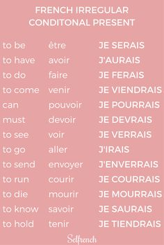 Educational infographic : french irregular conditional - We publish good gifts idea French Verbs, French Grammar, French Phrases, French Language Lessons, French Language Learning, Learn A New Language, French Lessons, German Language, Spanish Lessons