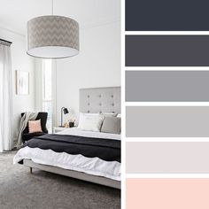 The Best Color Schemes for Your Bedroom - Charcoal   grey and blush bedroom color palette #color #colorpalette #navyblue #bedroom #grey
