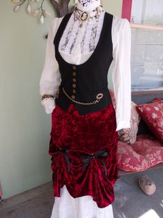 I like this more for the vest & top then the skirt.... Primary Red: Steampunk Upcycled Bustle Skirt in Stretchy Red Crushed Velvet Women's SIZE M/L