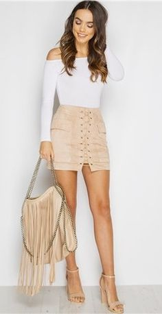 #spring #outfits  White Off The Shoulder Top + Blush Laced Up Skirt + Nude Sandals