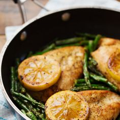 5 Ingredient Lemon Chicken with Asparagus Recipe Main Dishes with boneless skinless chicken breasts, whole wheat flour, salt, butter, lemon pepper seasoning, asparagus, lemon