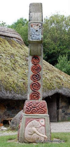 Painted High Cross in The Irish National Heritage Park Wexford, Ireland