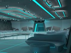 tron style club (interior) with Aleksandra Gromova Spaceship Interior, Futuristic Interior, Futuristic Bedroom, Futuristic Furniture, Interior Architecture, Interior And Exterior, Laser Tag, Nightclub Design, Future Buildings