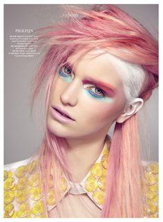 tags: pink hair, peach hair, pastel hair