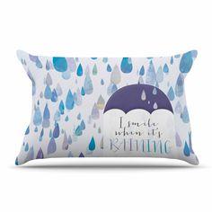 "Noonday Design ""I Smile When Its Raining"" Blue Purple Pillow Case"