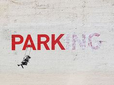 Banksy Canvas Parking Pine Wooden Frames Ready-to-hang
