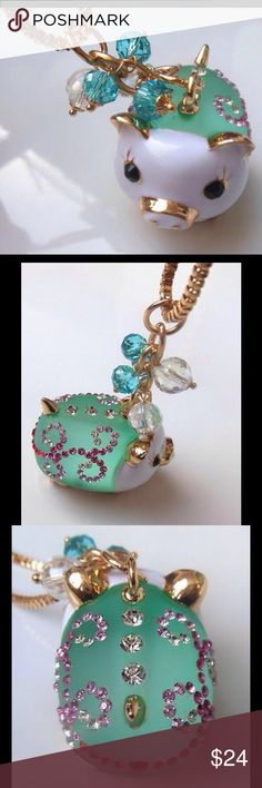 BETSEY JOHNSON ❤️ NECKLACE Bestey Johnson transport new sparkling crystal necklace cute bIue pig .N219L.  New, never worn. In original packaging.  NWT.  FUN ARTWEAR Betsey Johnson Jewelry Necklaces