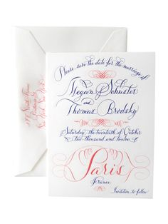 Incorporating Le Tricolore into a Save-The-Date for a Paris wedding is genius. Look for ways to seamlessly connect what makes your special day so special into the elements of your wedding. Bernard Maisner stationery, price upon request. For information: bernardmaisner.com