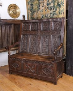 17th century carved settle, from Westmoreland, circa 1690. Marhamchurch antiques