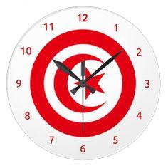 Wall Clocks with flag of Tunisia