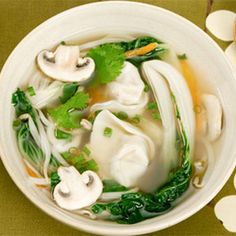 Wonton Soup—Serve with: Egg and Radish Salad — Finish with: Strawberry Rhubarb Compote Asian Recipes, Real Food Recipes, Soup Recipes, Cooking Recipes, Healthy Recipes, Ethnic Recipes, Advocare Recipes, Healthy Lunches, Copycat Recipes