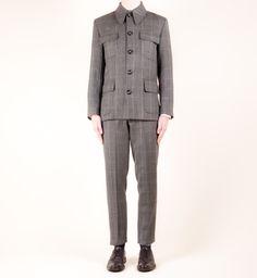 Mendoza Chairman Collared Grey Wool Herringbone Fitted Suit - £375 - Mendoza Menswear Brick Lane