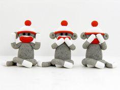 Three Wise Sock Monkeys See No Evil Speak No Evil Hear No Evil Polymer Clay on Etsy, $26.00