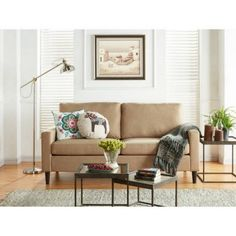 Mainstays Apartment Sofa Upholstery Grade Woven Fabirc  725L x 332W x 362H Sand ** See this great product. (This is an affiliate link and I receive a commission for the sales)