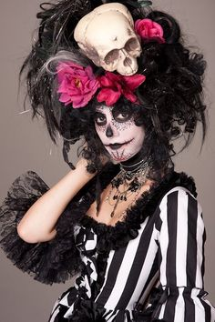 Black Witch Doctor Day of the Dead Skull Wig by CandyCrypt on Etsy. , via Etsy.