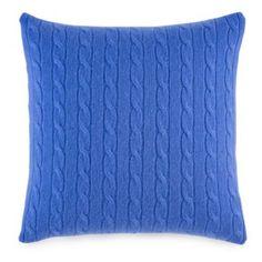"""Ralph Lauren Cable Cashmere Decorative Pillow, 18"""" x 18"""""""