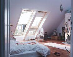 Stunning VELUX Juliet-style balcony skylights for your loft conversion or self-build. Interior Architecture, Interior Design, Attic Design, Design Room, Loft Design, Room Interior, Modern Interior, Attic Rooms, Attic Apartment
