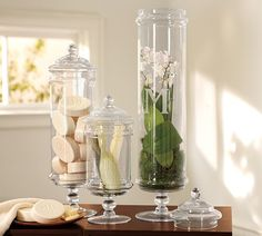 Pottery Barn Classic Glass Apothecary Jar - these would look fantastic filled with candy at a party
