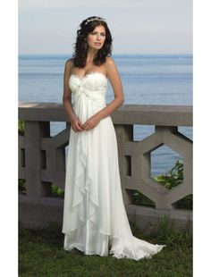Elegant Hot Sale Sweetheart Chiffon Sweep Train Beach Wedding dress - Wedding Dresses - CDdress.com