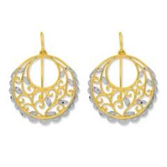 Fashioned in 14K two-tone gold, these drop earrings feature a circle with scroll design. The earrings secure with wire backs.