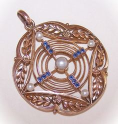 Simply Scrumptious C.1910 FRENCH Gold Filled, Sapphire Spinel & Pearl Pendant!