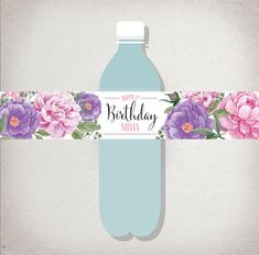 Personalized WATER BOTTLE Labels: Floral Birthday by DraftEleven
