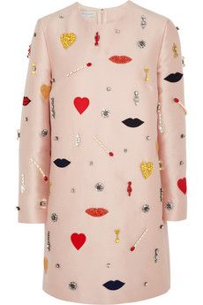 Stella McCartney Aubine embellished satin-twill dress | NET-A-PORTER