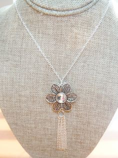 My new favorite!! Vintage Flower Long Silver Chain Tassel Necklace by BestBuyDesigns