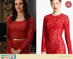 Victoria's red lace dress on Revenge. Outfit details: http://wornontv.net/15021/