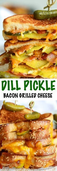 Dill Pickle Bacon Grilled Cheese – Spend With Pennies Dill Pickle Bacon Grilled Cheese. This is the best sandwich ever with loads of crispy bacon, gooey cheese and crunchy dill pickles. Grilled cheese will never be the same again! Deli Sandwiches, Grilled Sandwich, Best Sandwich, Soup And Sandwich, Lunch Recipes, Dinner Recipes, Cooking Recipes, Burger Recipes, Snacks