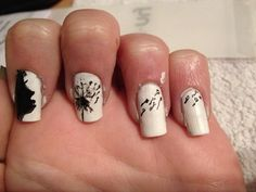 First time i tried! #nails #flower #black #white #teen #nailart