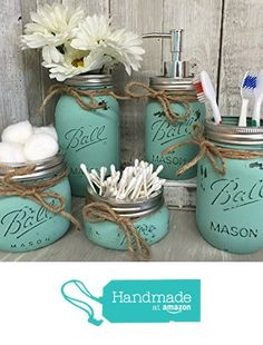 Painted Mason Jar Bathroom Set of 5 | SEAGLASS Rustic Distressed Farmhouse Decor #ad shabby chic