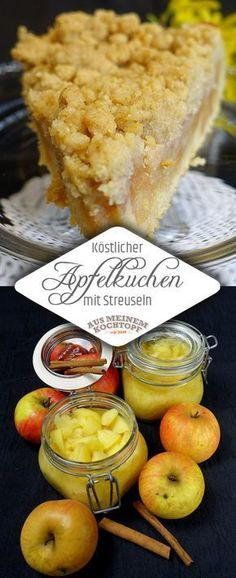 Köstlicher Apfelkuchen mit Streuseln – Aus meinem Kochtopf The perfect apple pie with sprinkles! Recipe with pictures and step-by-step instructions. Baked with shortcrust pastry and homemade apple compote Cake compote # pastry Ice Cream Recipes, Pie Recipes, Snack Recipes, Dessert Recipes, Nutella, Flaky Pastry, Shortcrust Pastry, Food Cakes, Perfect Apple Pie