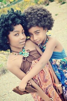 Natural sisters:-) Follow for more styles http://www.yeahsexyweaves.tumblr.com