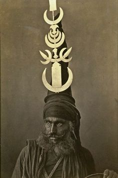 Akali Sikh warrior wearing the distinctive Akali turban- about 1860
