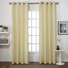 "House of Hampton Hadley Curtain Panels Size: 54"" W x 96"" L, Color: Mellow Yellow"