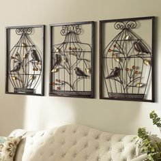 Bird flower Iron cage wall mural creative Home Furnishing stereo background wall hanging decorations home office wall decoration