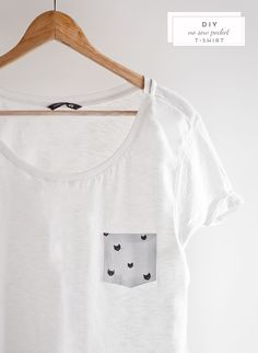 Oh the lovely things: 10 Minutes DIY: No Sew Pocket T-Shirt - This adorable pocket tee won't take up more than 10 minutes of your precious time. Look Fashion, Diy Fashion, Fashion Ideas, Fashion Hacks, Chanel Fashion, School Fashion, French Fashion, Party Fashion, Spring Fashion