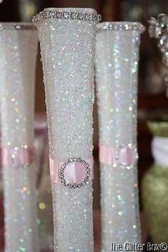 Wedding Glittered Centerpiece White Pink Eiffel Tower Bud Vase Special Occassion | eBay