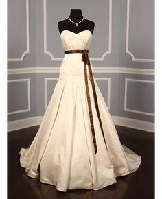 Wedding Dress with Brown Sash