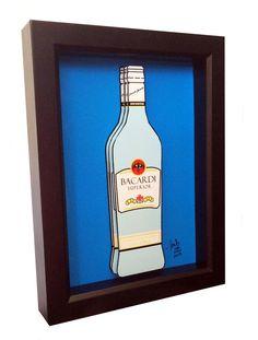 Bacardi Bottle Pop Art Rum Liquor Bottle Print by PopsicArt Rum Liquor, Liquor Bottles, 5x7 Frames, Shadow Box Frames, Bacardi, Affordable Art, Three Dimensional, Lovers Art, Artsy Fartsy